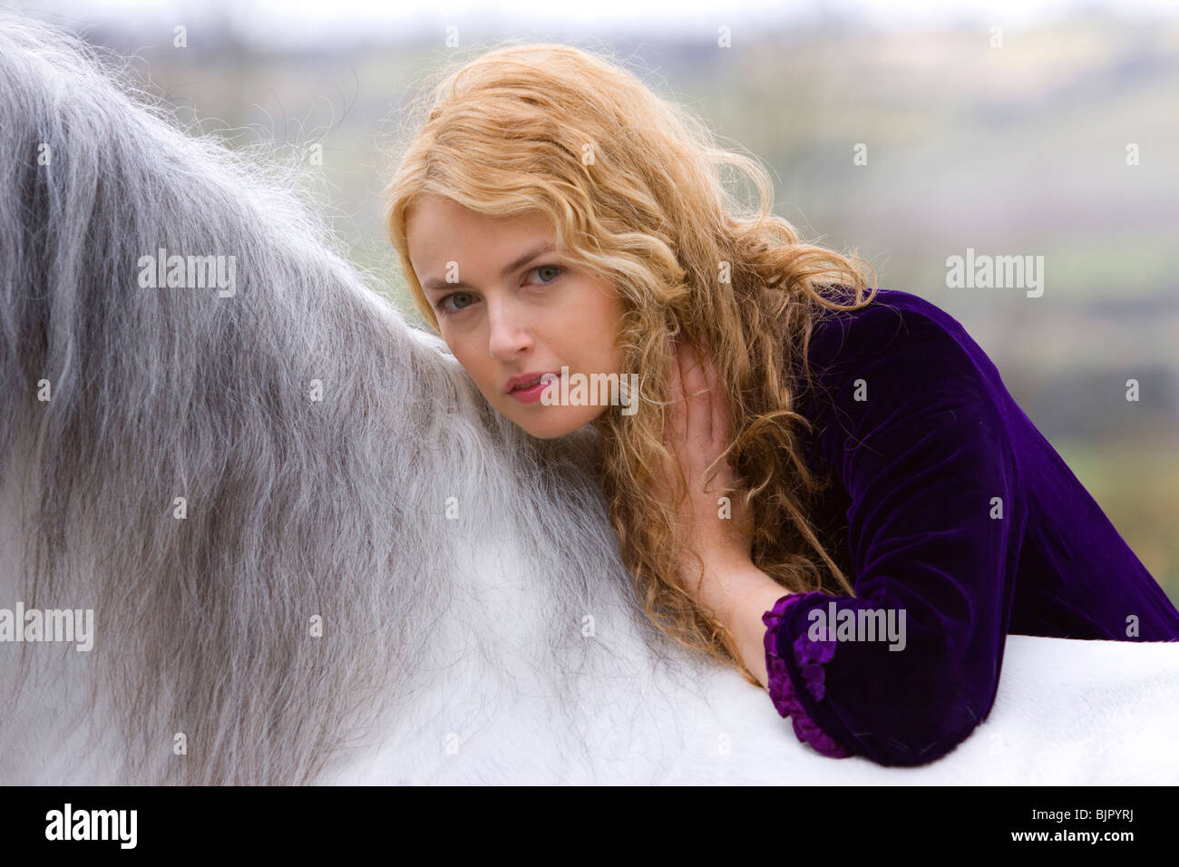 Girl with horse 2 - Stock Image