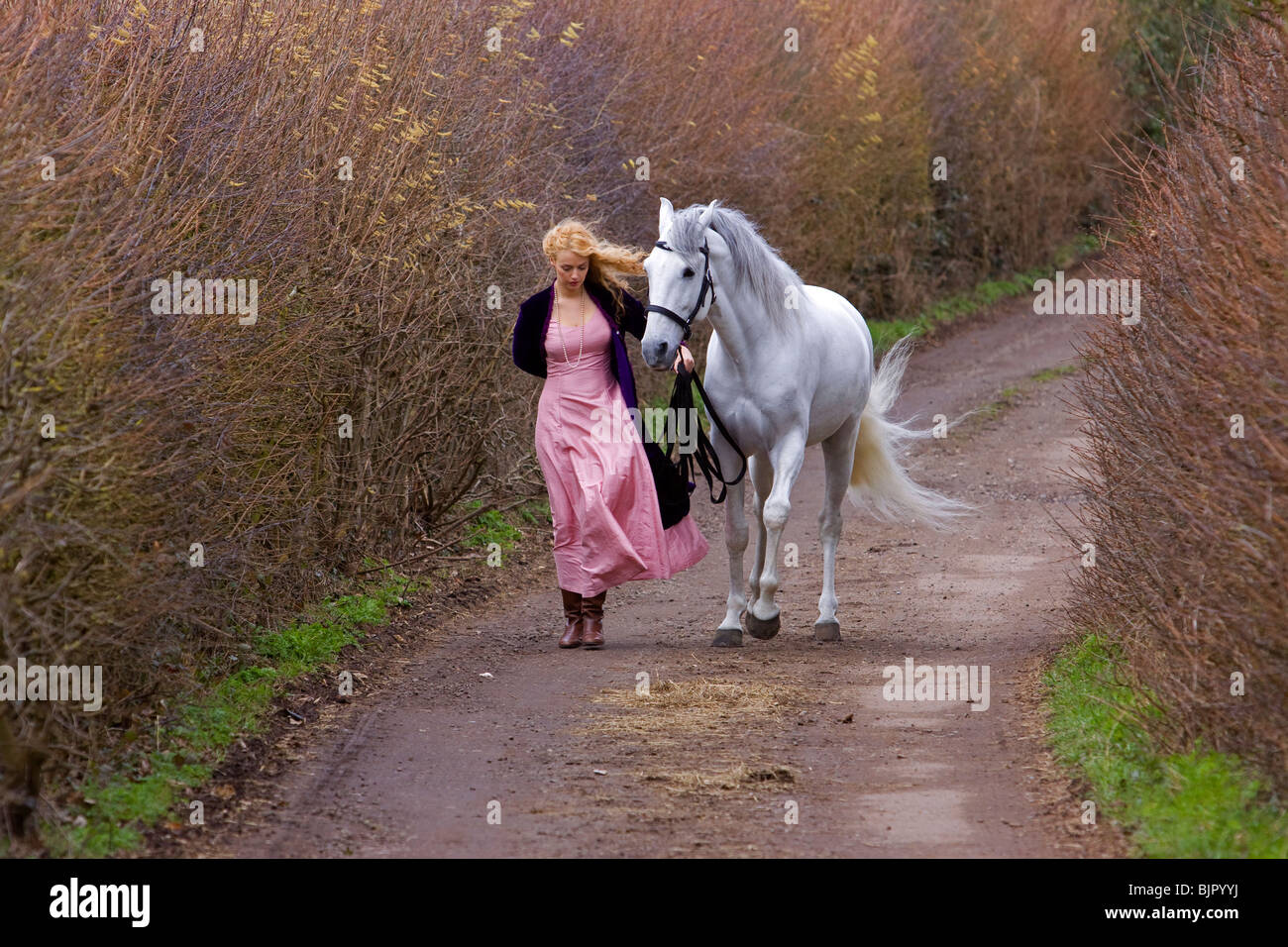 Girl with horse 3 Stock Photo