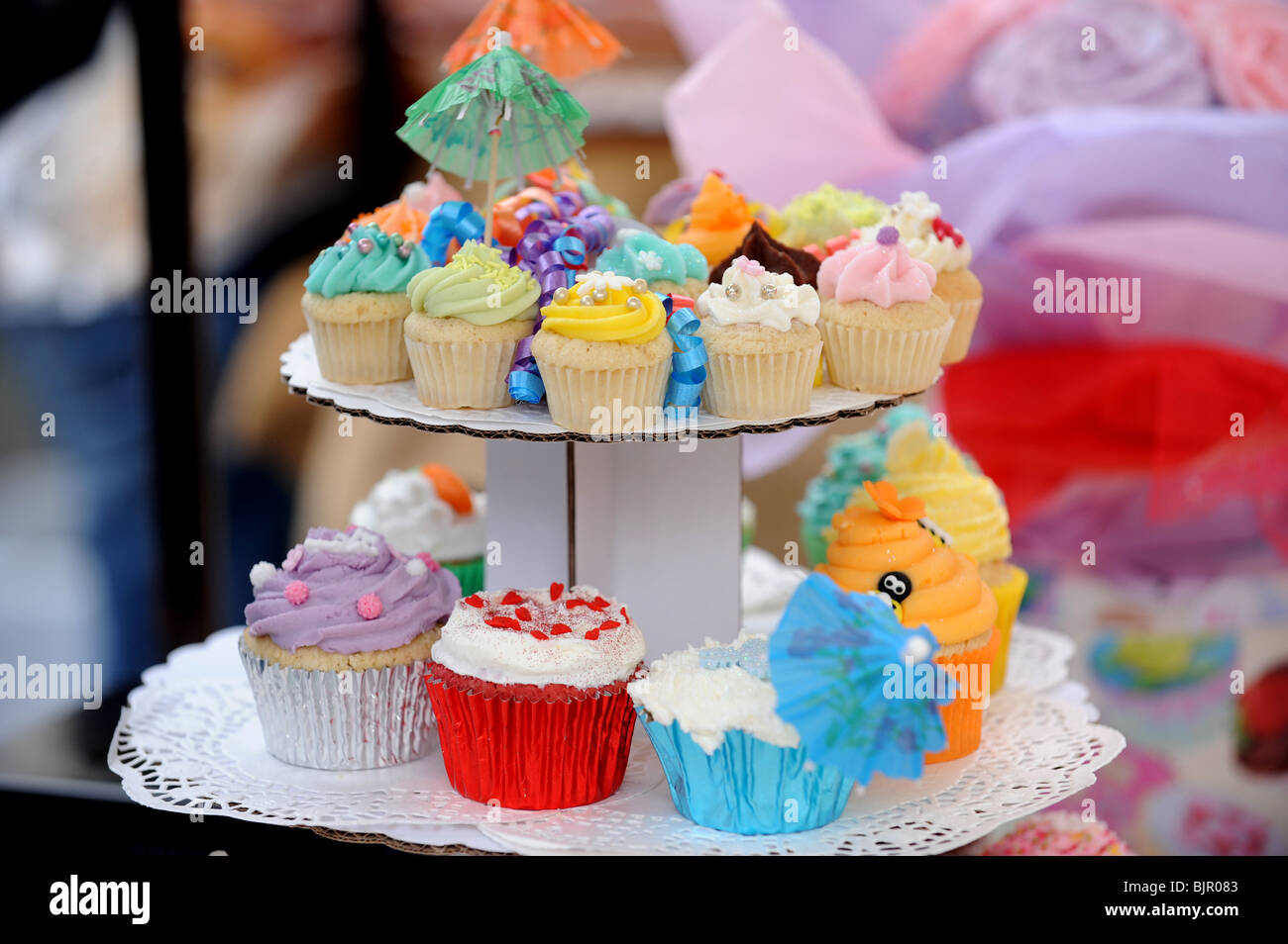Beautifully decorated cup cakes - Stock Image