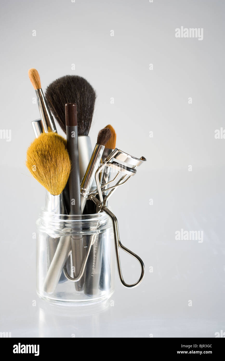 Assorted Makeup Brushes And Cosmetics Instruments
