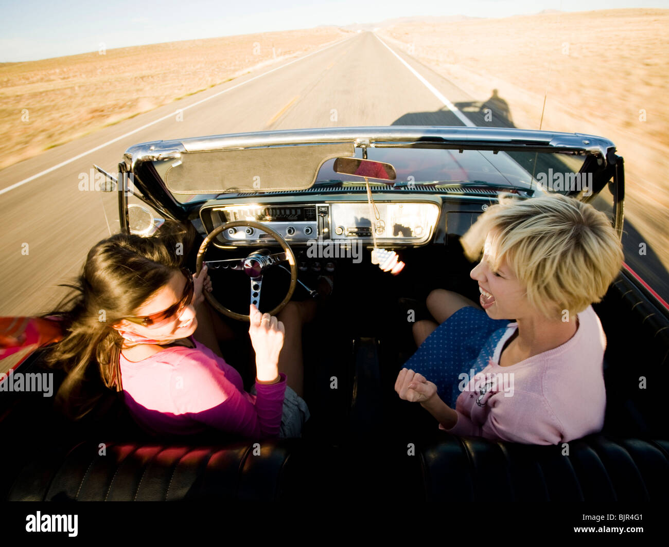 Women on a road trip - Stock Image