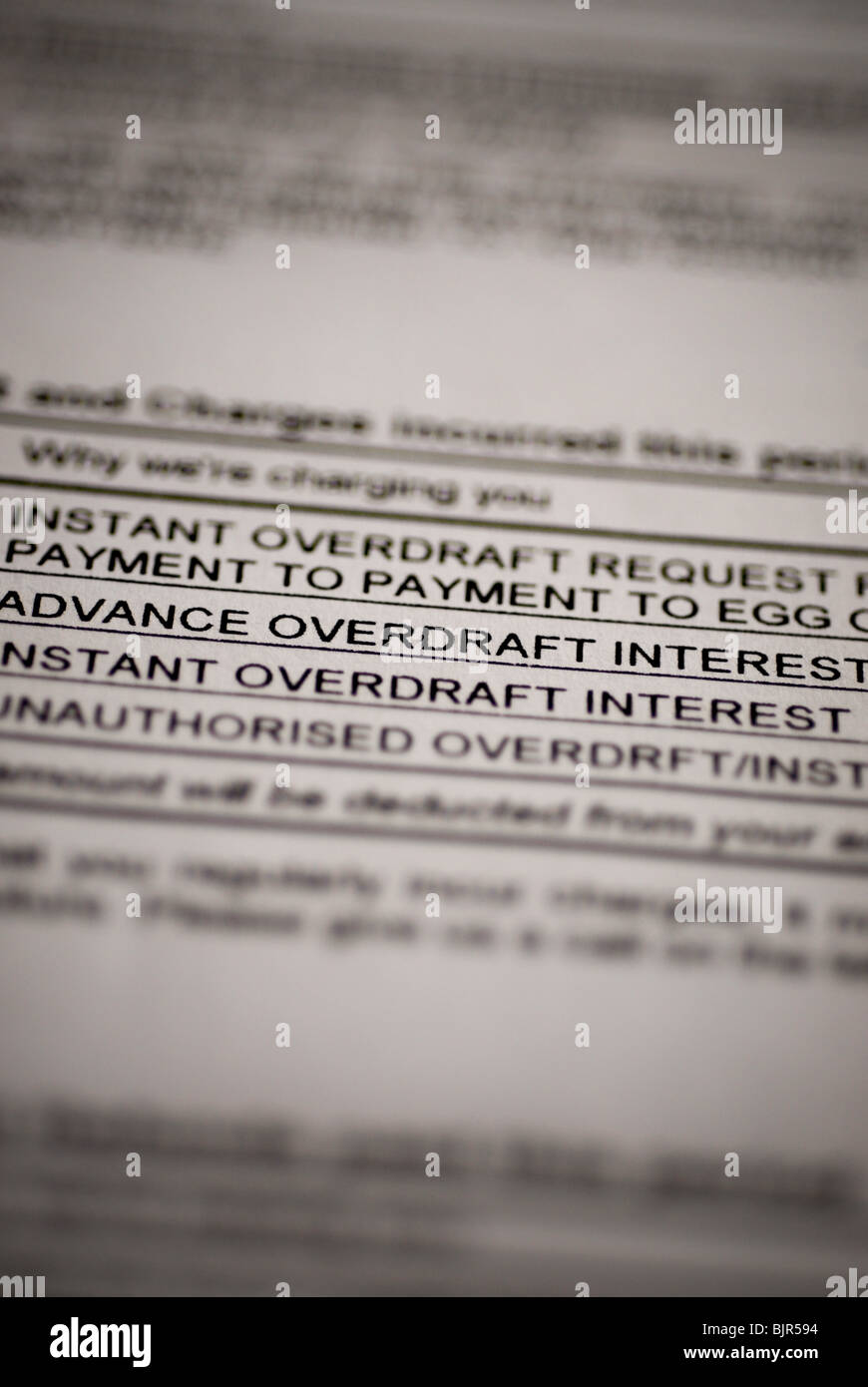 BANK STATEMENT DETAIL SHOWING INTEREST AND OVERDRAFT CHARGES. - Stock Image