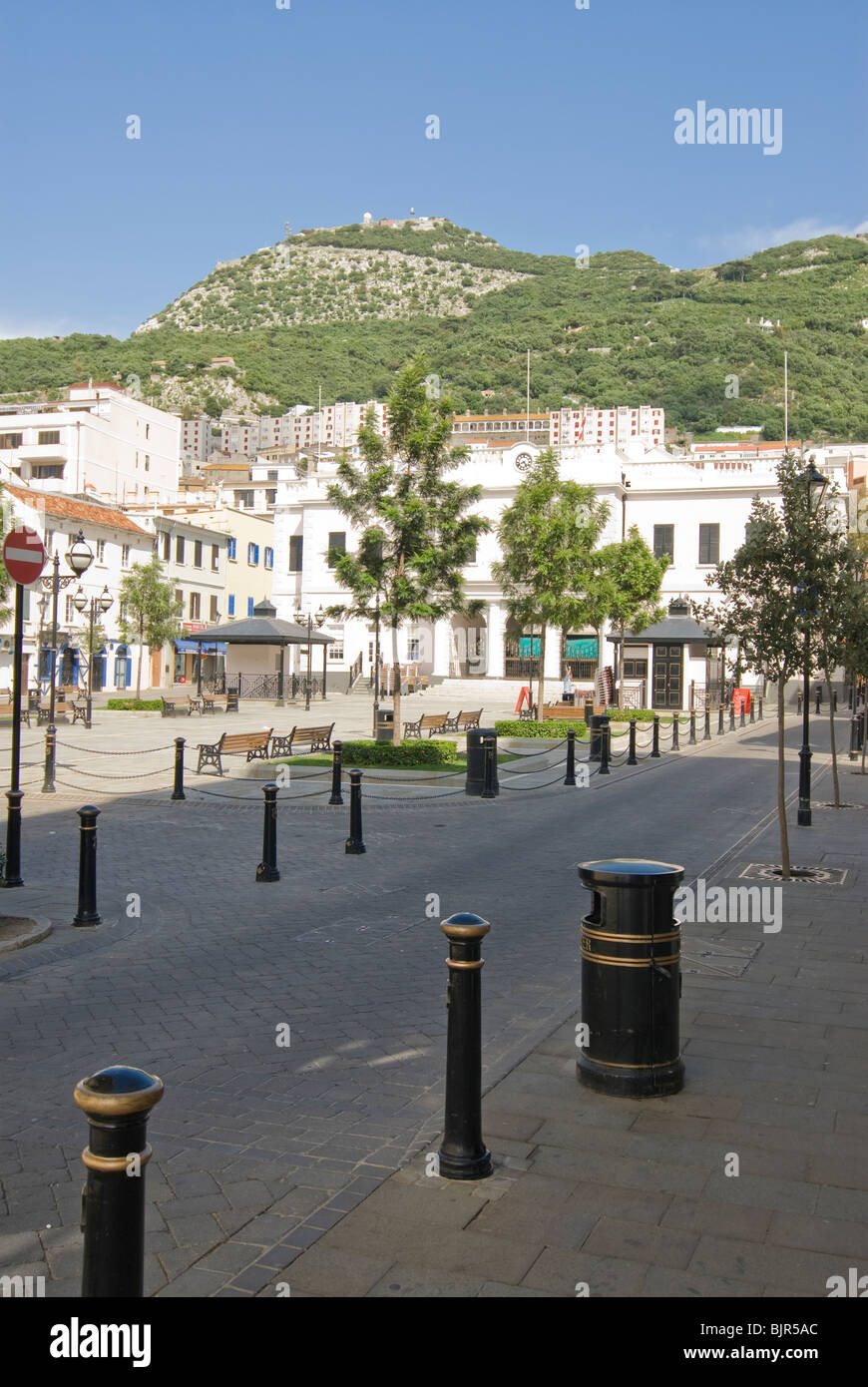 main square and Rock, Gibraltar - Stock Image