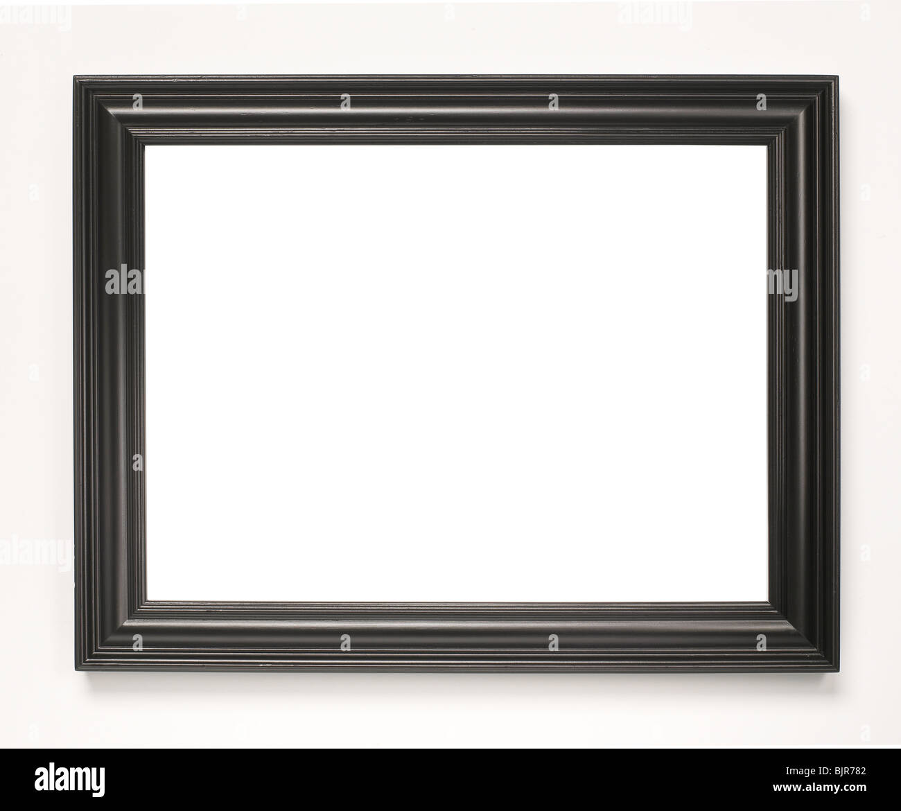 Black wooden picture frame - Stock Image