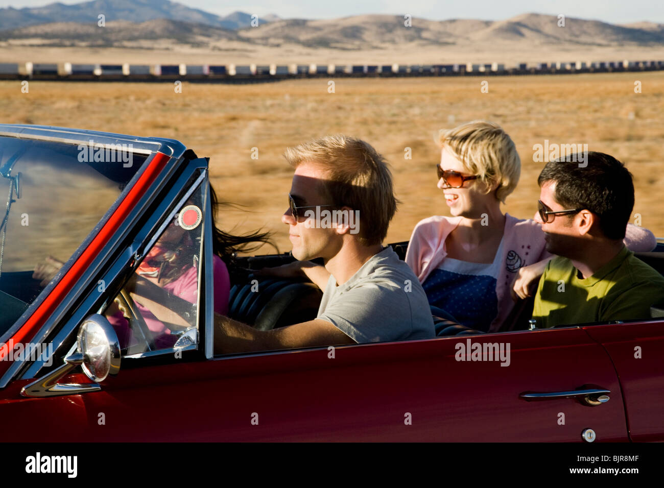 four people on a road trip - Stock Image