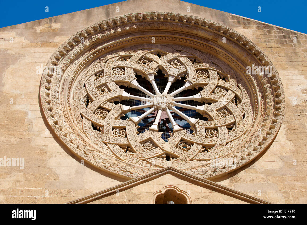 rose window of cathedral Trapani - Stock Image