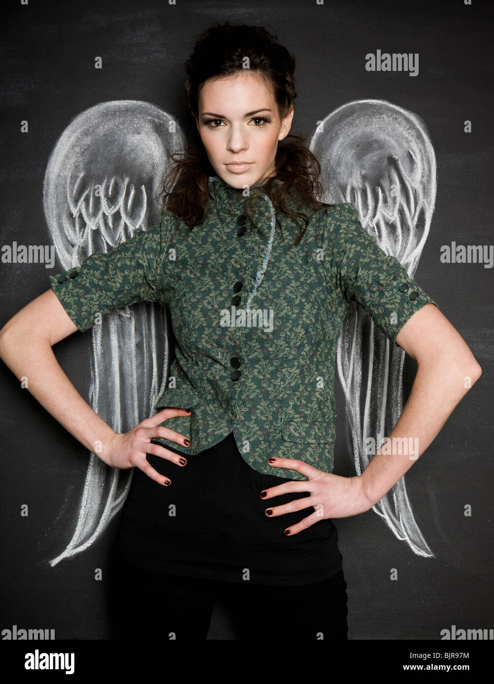 woman with angel wings - Stock Image