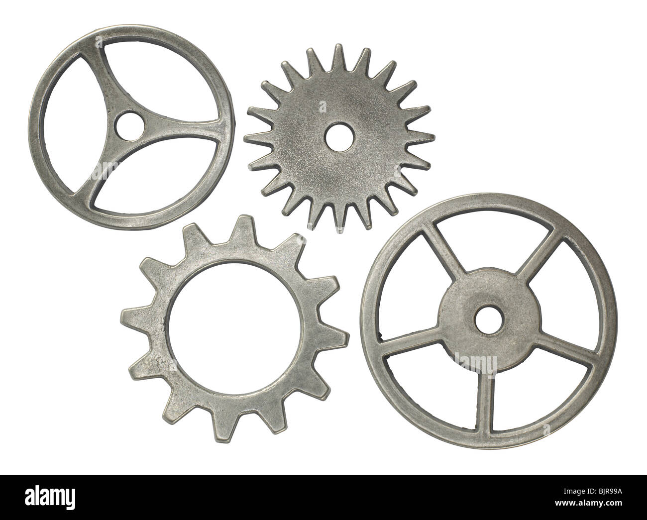 Collection of gears on white background - Stock Image