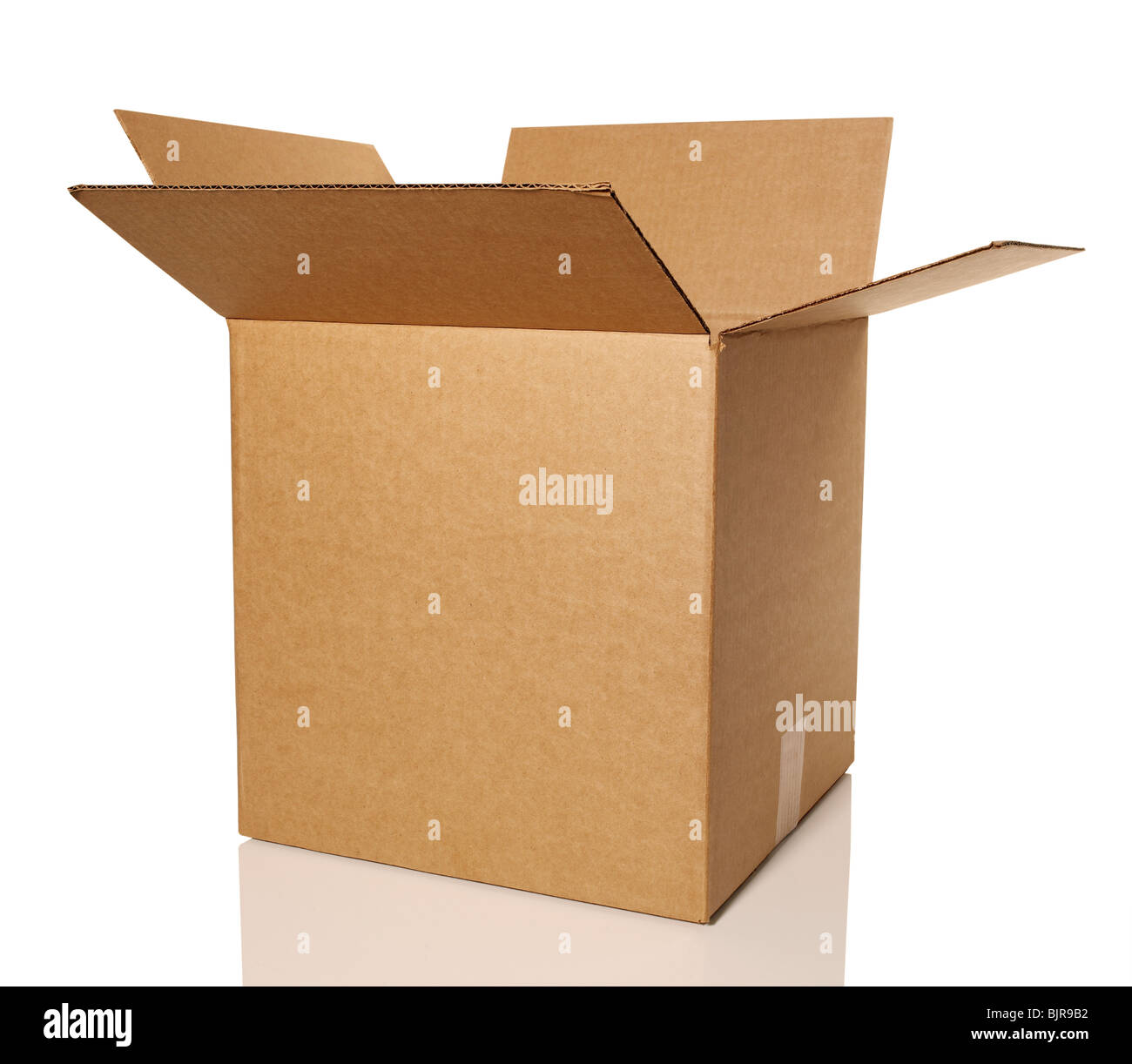 Brown cardboard container box - Stock Image