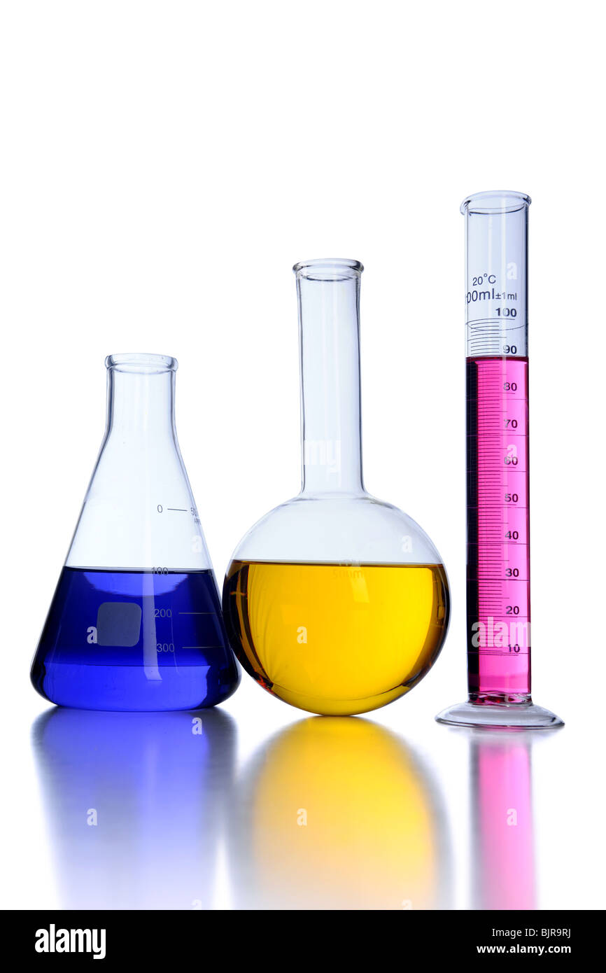 Laboratory glassware over white background - Stock Image