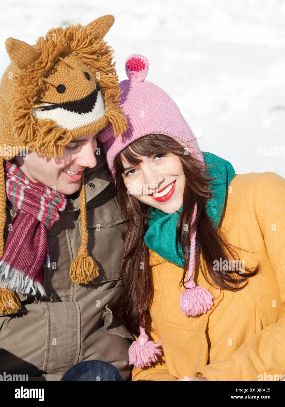 Orem, Utah, USA, boyfriend and girlfriend wearing funny knit hats, portrait - Stock Image