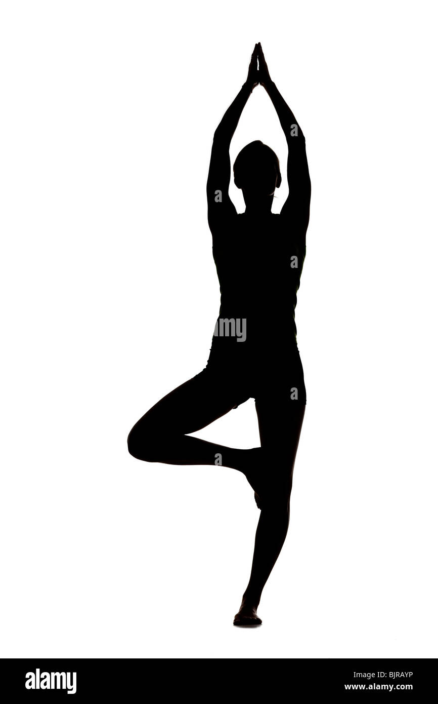 USA, Utah, Orem, Silhouette of woman standing in tree pose against white background - Stock Image