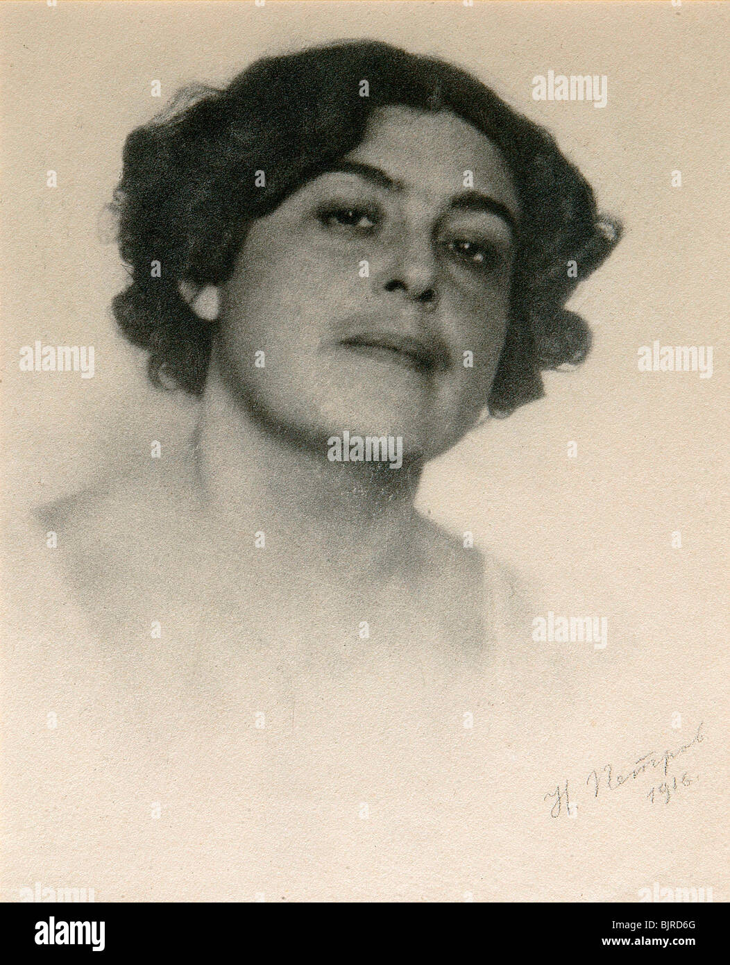 Portrait of the Russian actress Voronets, c1916. Artist: Nikolai Petrov - Stock Image
