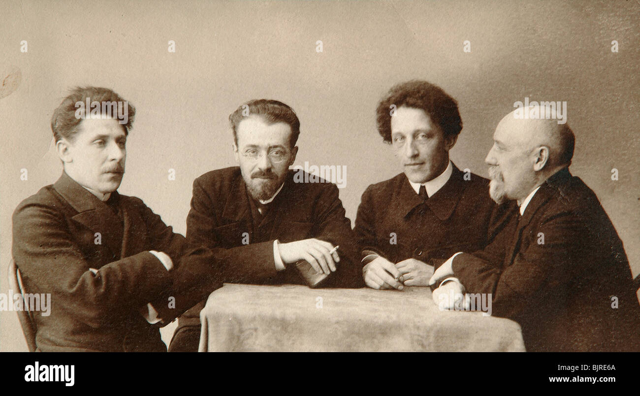 Four Russian poets, early 20th century.  Artist: Dmitri Spiridonovich Zdobnov - Stock Image