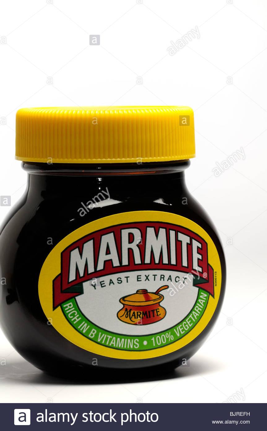 Close up image of a jar of Marmite on a white background, England, UK - Stock Image