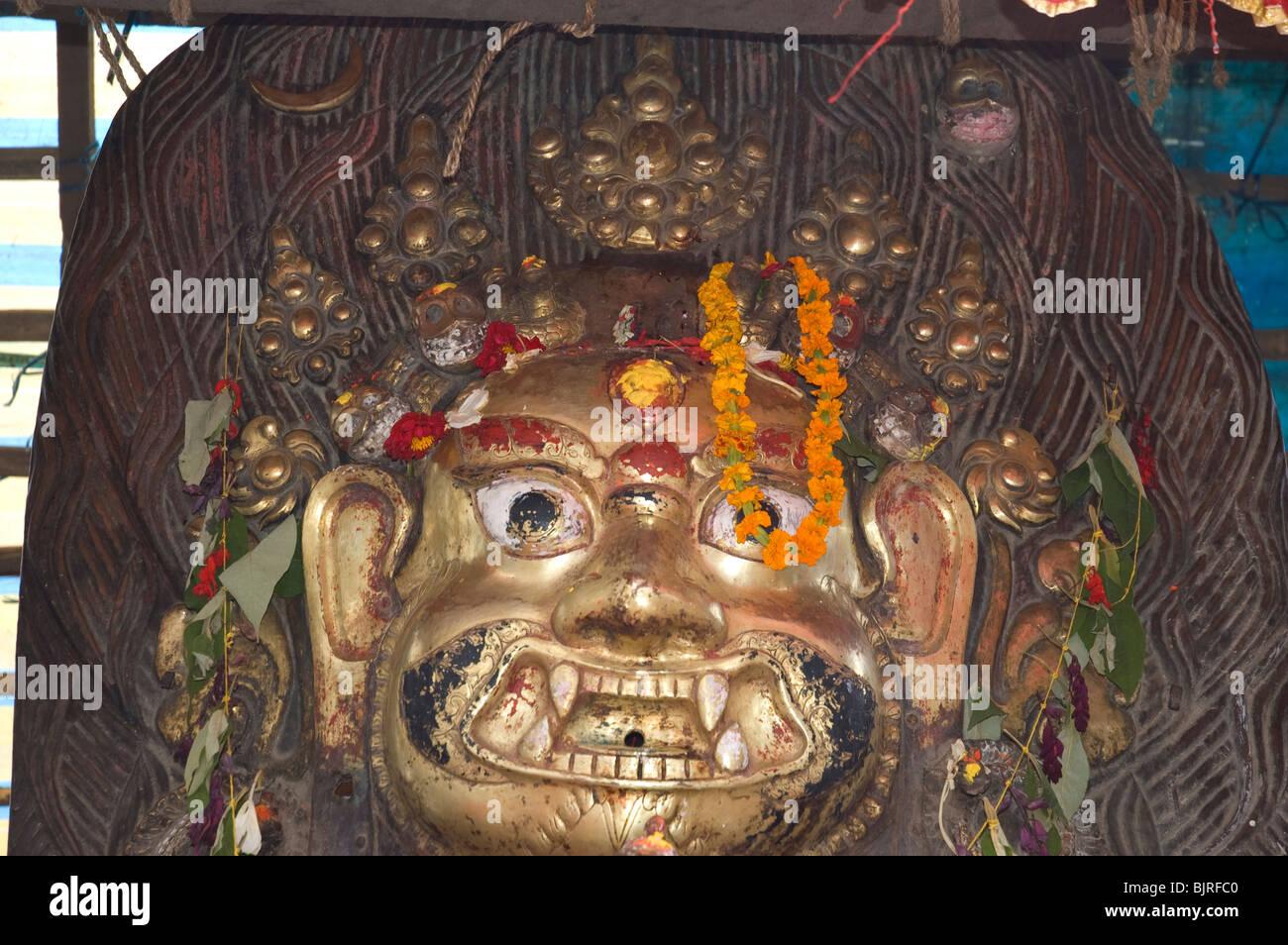 Fierce temple God, Seto ( white ) Bhairab, on view during Indra Jatra, in Durbar Square, Kathmandu, Nepal. - Stock Image