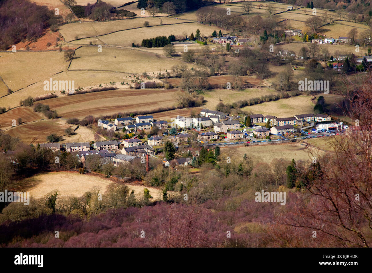 Village of Grindleford in the Peak District Derbyshire East Midlands England UK - Stock Image