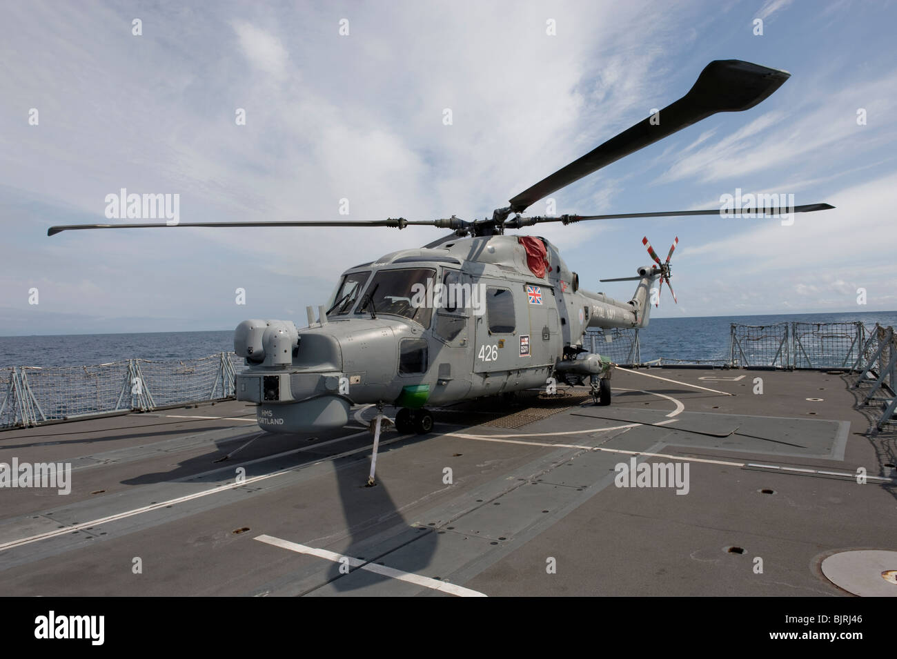 Royal Navy Mk 8 Lynx helicopter on flight deck of Type 23 frigate - Stock Image