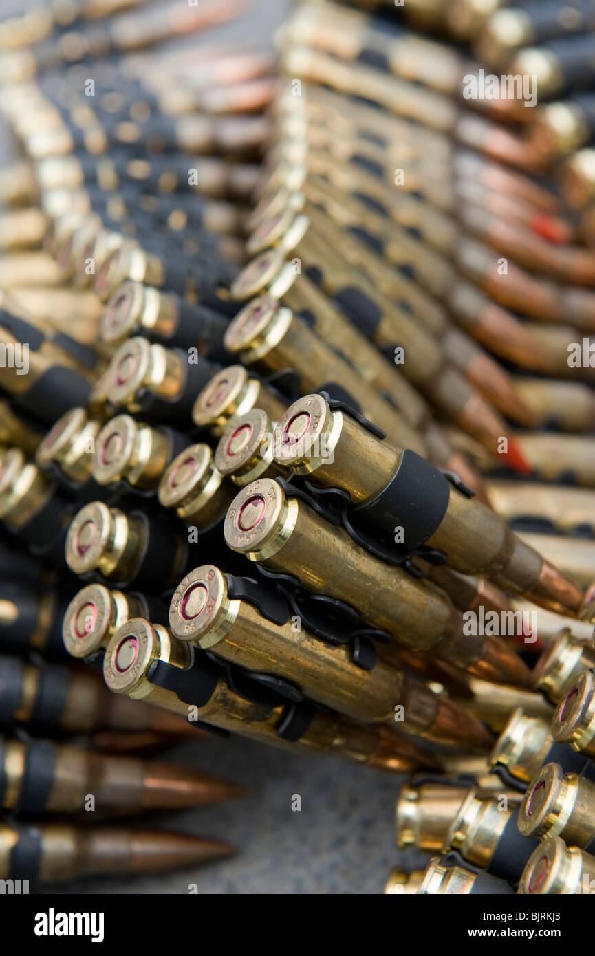 7.62x51mm NATO ammunition cartridge belts for Mk44 Minigun - Stock Image