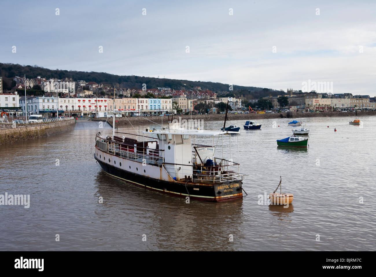 Weston Super Mare, Somerset, UK, boats in the harbour in front of the old pier - Stock Image