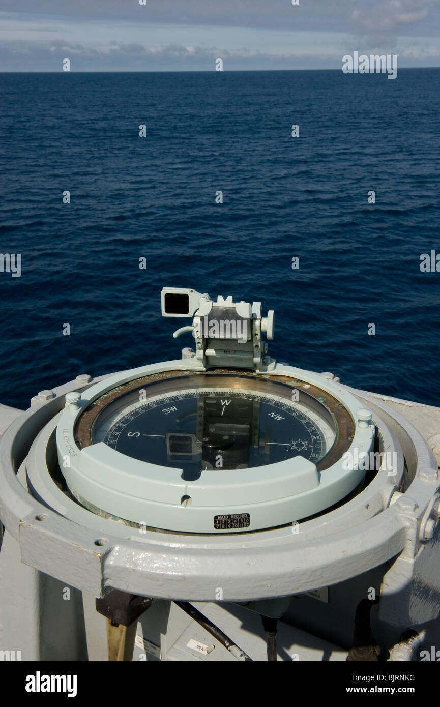 Bridge wing navigation compass - Royal Navy Type 23 Frigate - Stock Image