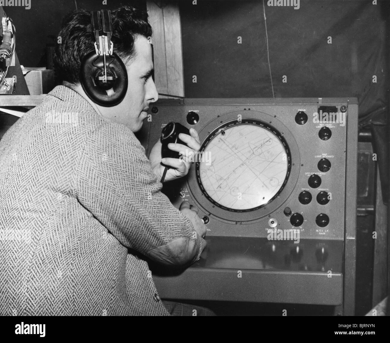 Radar operator, Marshall Plan, 1947-1951. - Stock Image