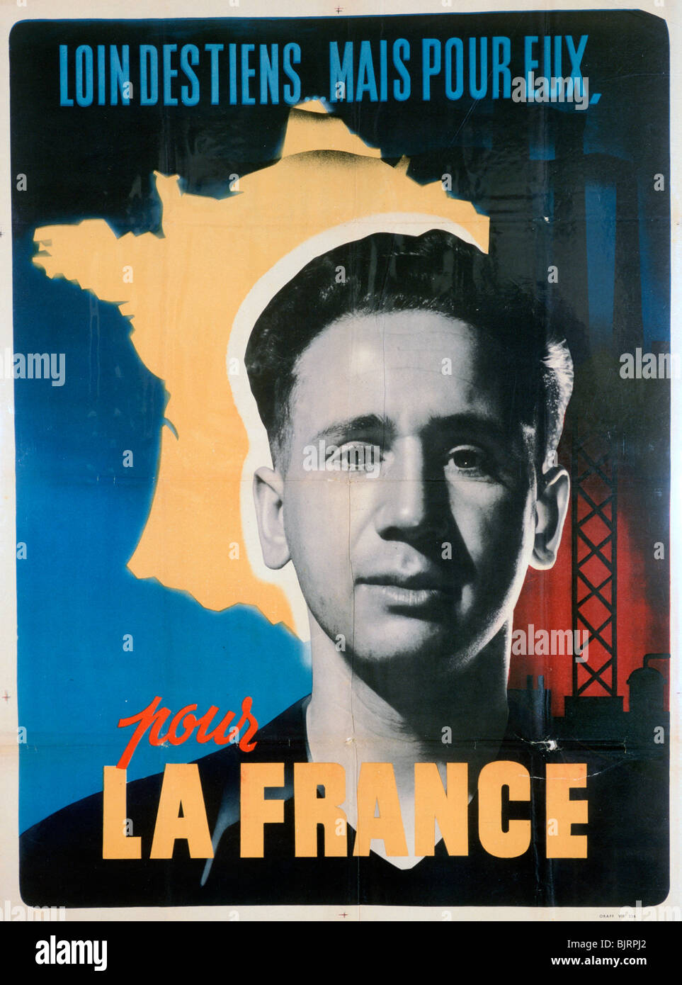 French voluntary work poster, c1942-1944. Stock Photo