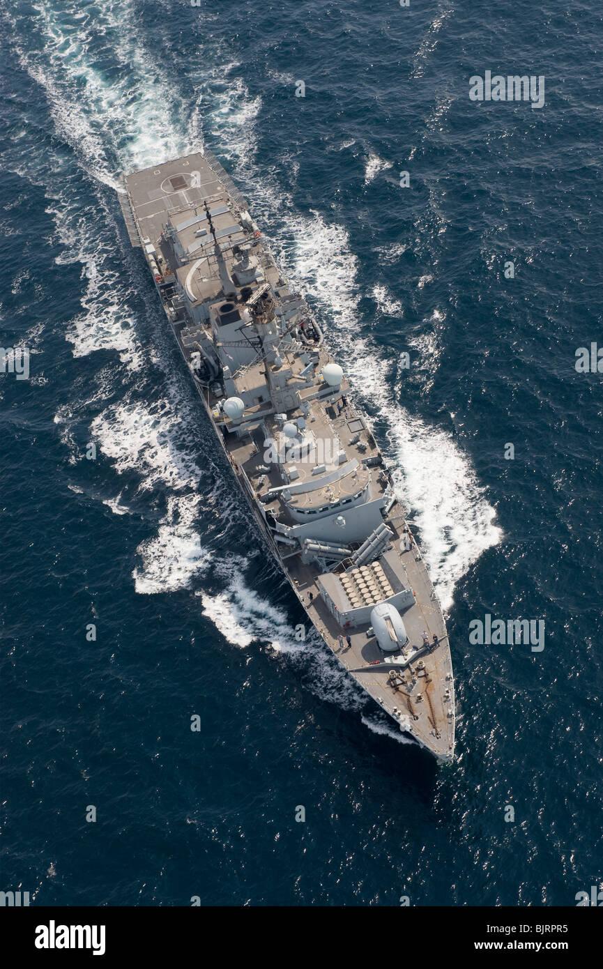 HMS Portland, Royal Navy Type 23 frigate - aerial shot at sea - Stock Image