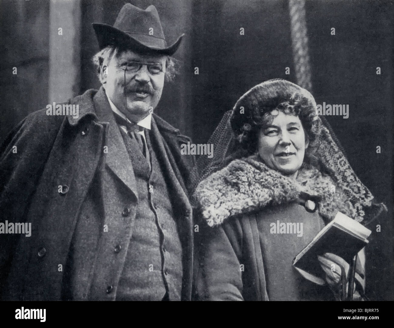 G. K. Chesterton 1874 - 1936. English author, seen here with his wife Frances Blogg. - Stock Image