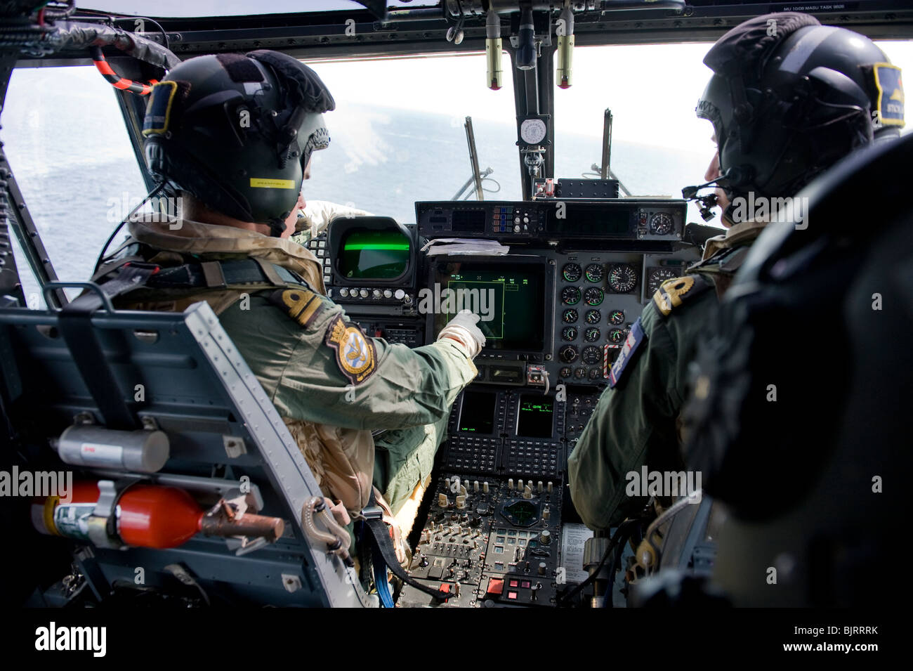 Flight deck of Royal Navy Mk8 Lynx helicopter - Stock Image