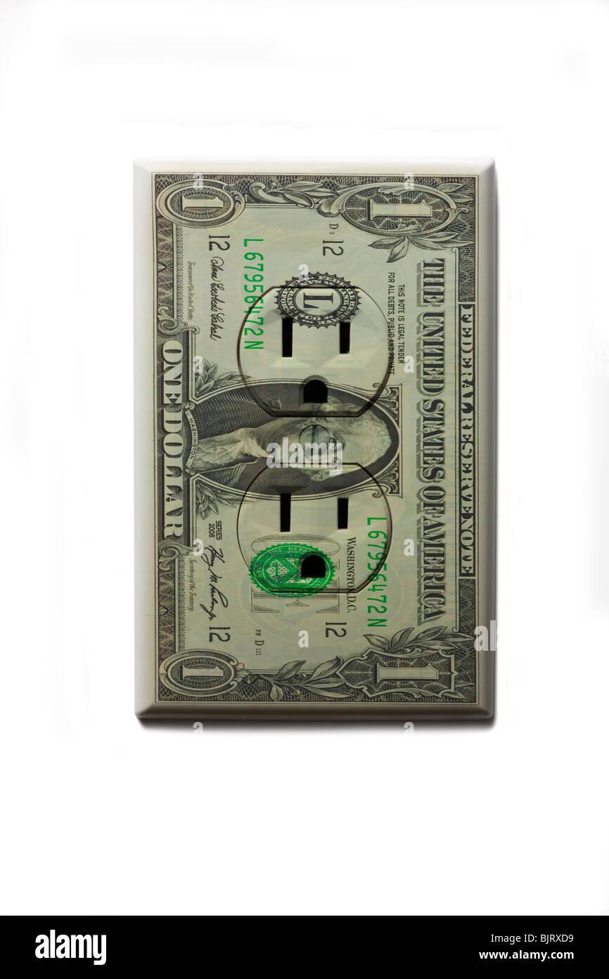 One US dollar bill plug socket on white background Stock Photo