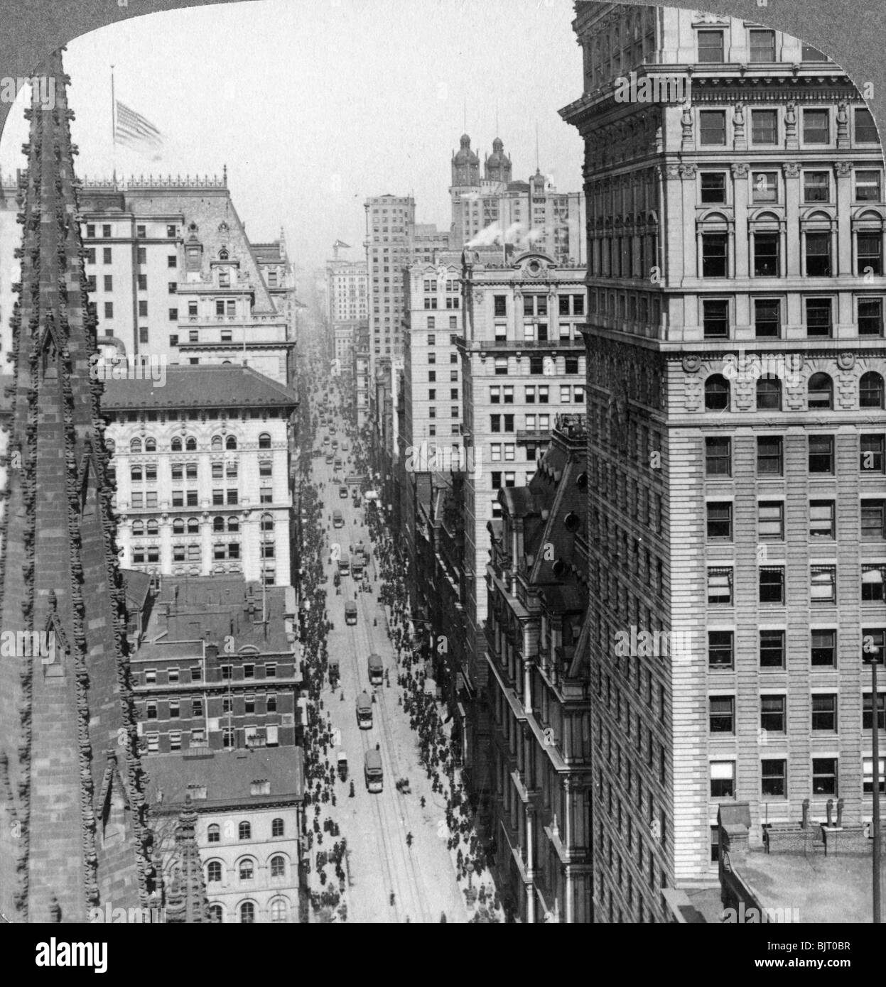 From the Empire building past Trinity Church up Broadway, 1902. - Stock Image