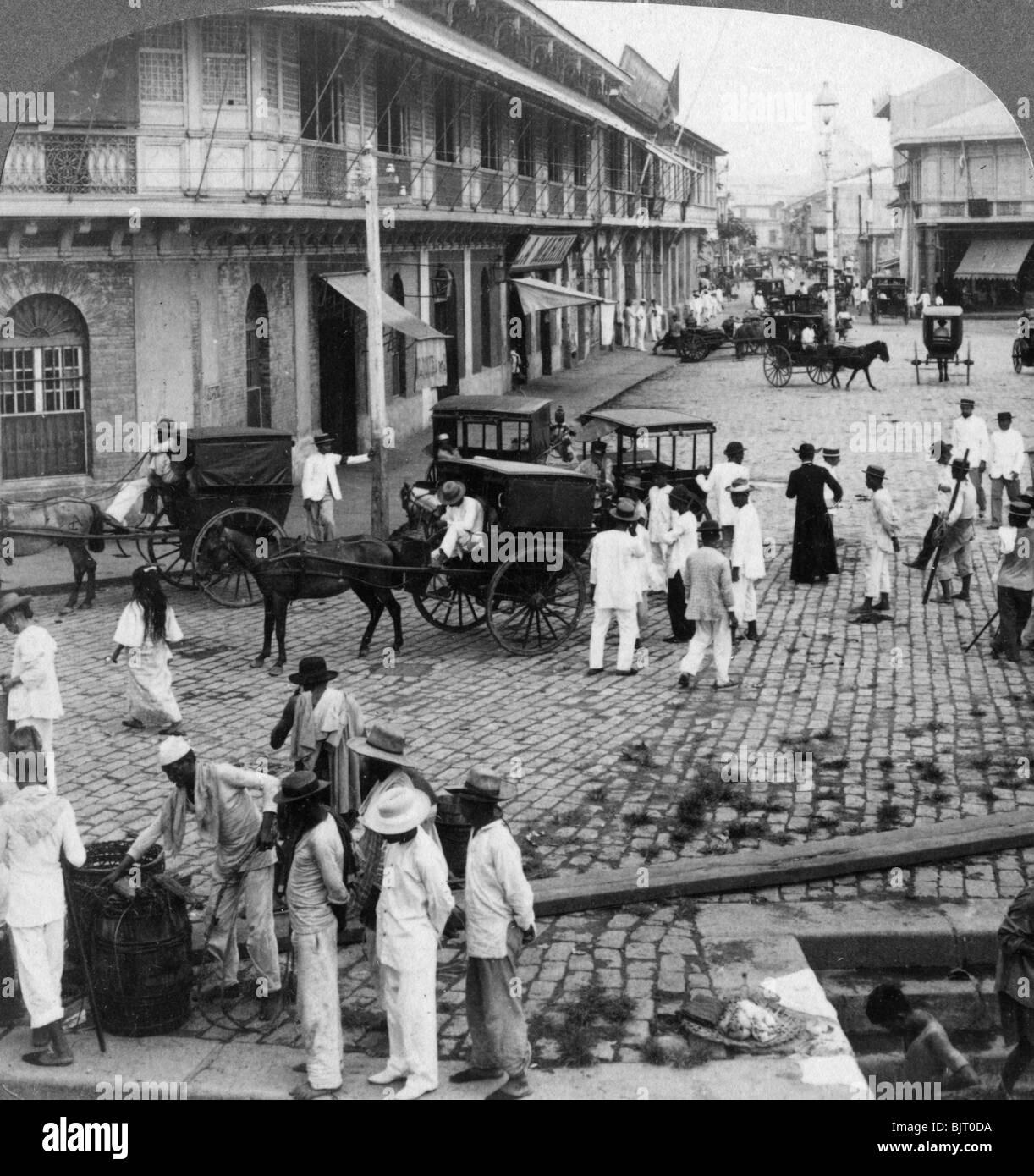 Rosario Street and Binondo Church as seen from Pasig River, Manila, Philippines, 1899. - Stock Image