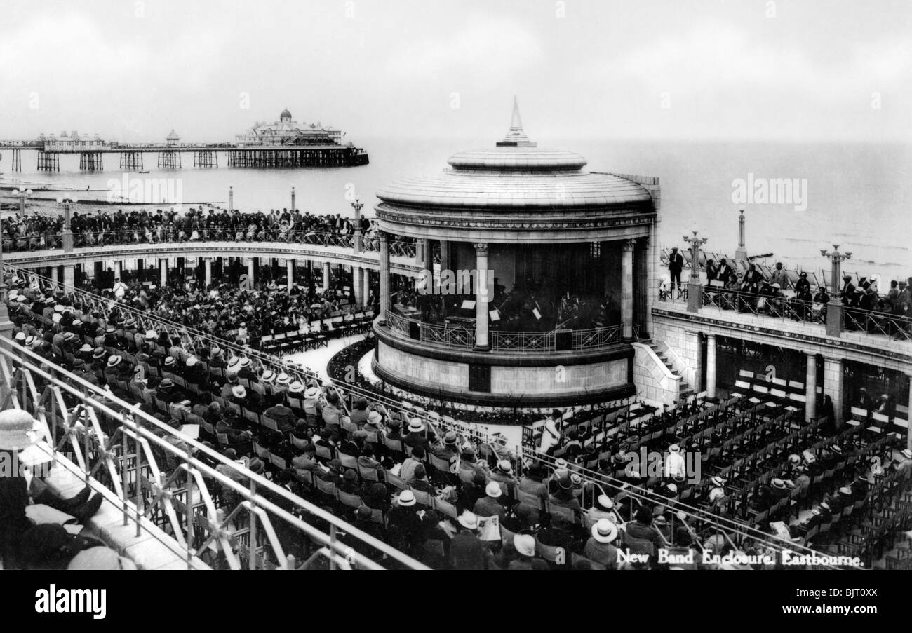 The new band enclosure, Eastbourne, East Sussex, early 20th century. - Stock Image