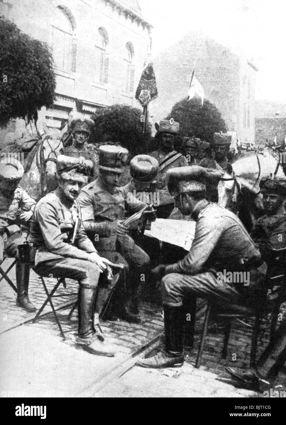 Officers in the Hussars, Chaussee de Louvain, Brussels, First World War, 1914. - Stock Image