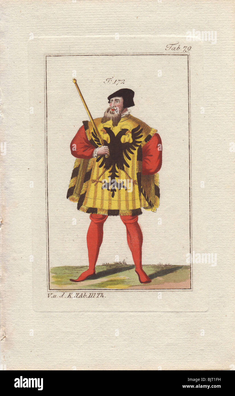 A royal or imperial herald in formal robes with yellow tabard decorated with black double-headed eagle, over scarlet - Stock Image