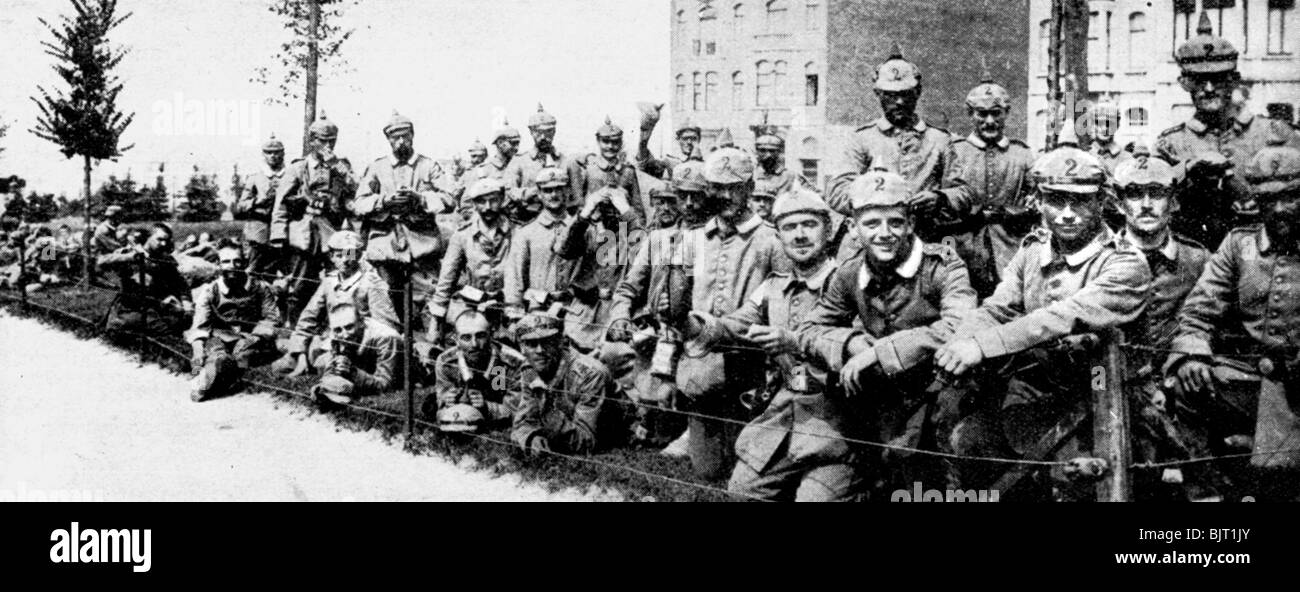 German Imperial Guard in Brussels, First World War, 1914. - Stock Image