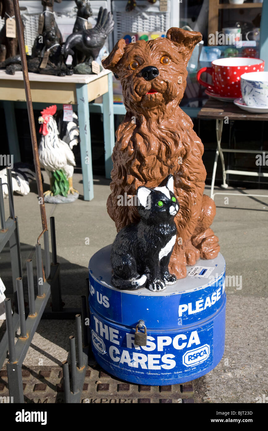 RSPCA dog and cat collection box, Aldeburgh, Suffolk - Stock Image