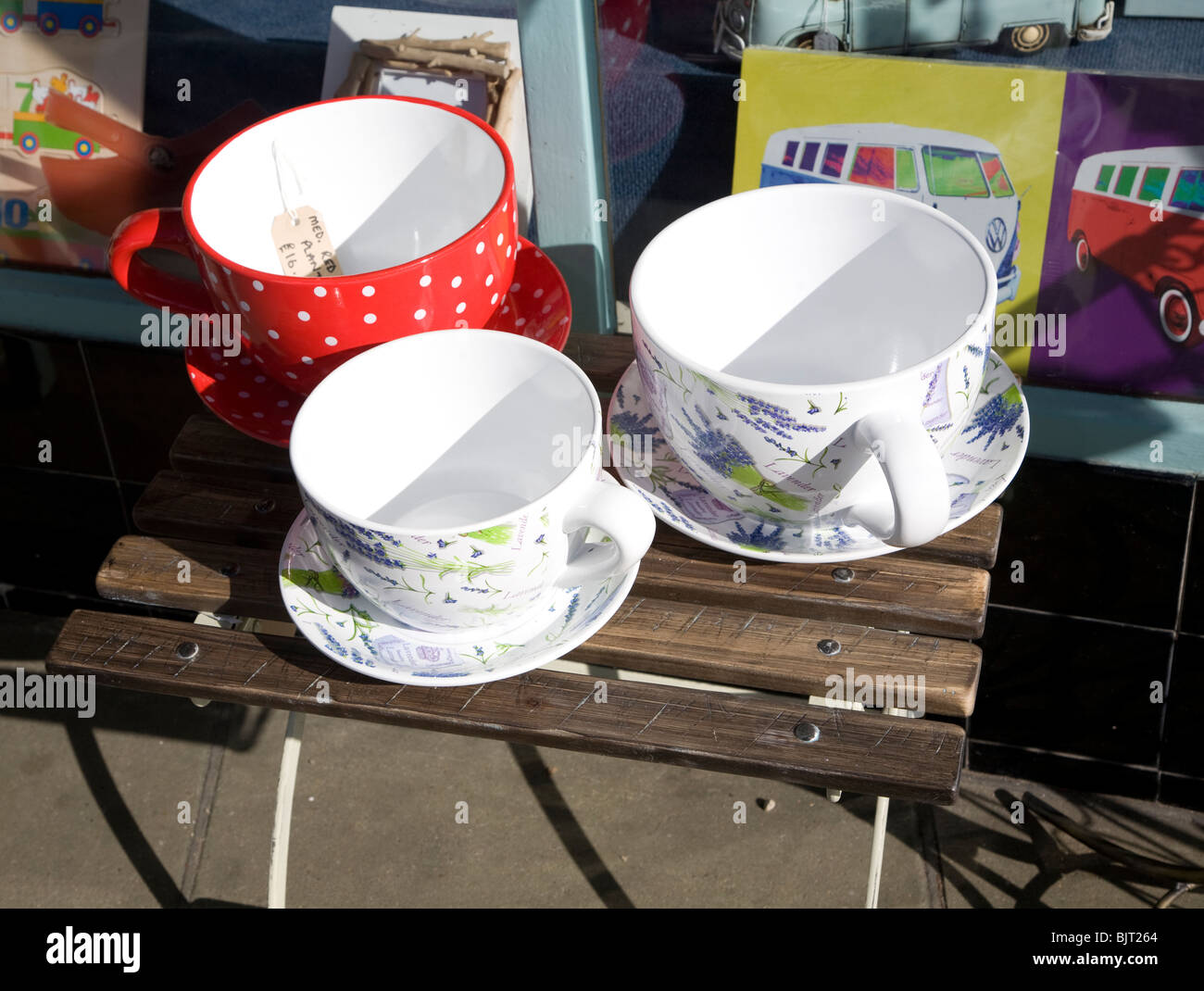 Giant cups and saucers - Stock Image