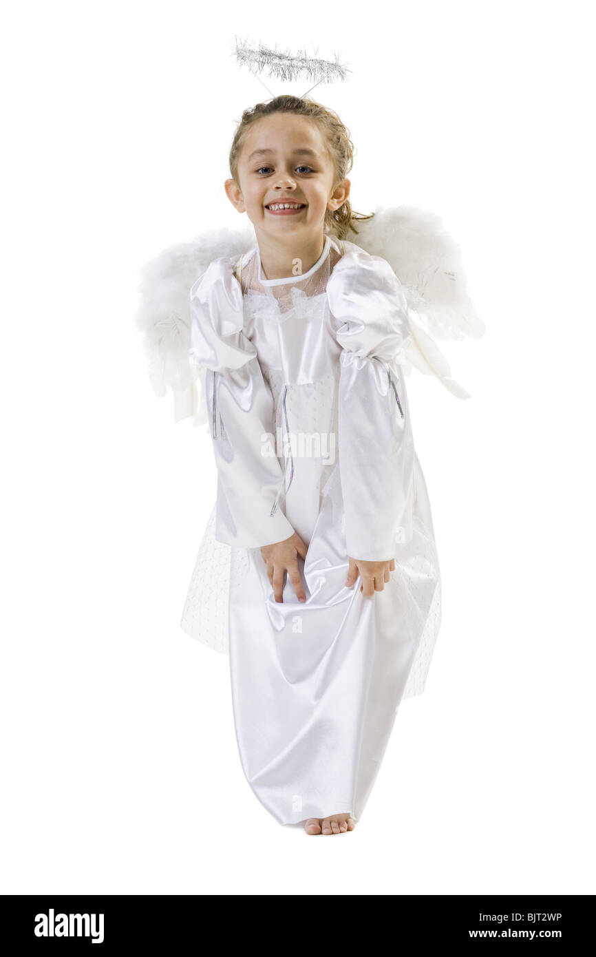 Young girl in angel costume - Stock Image