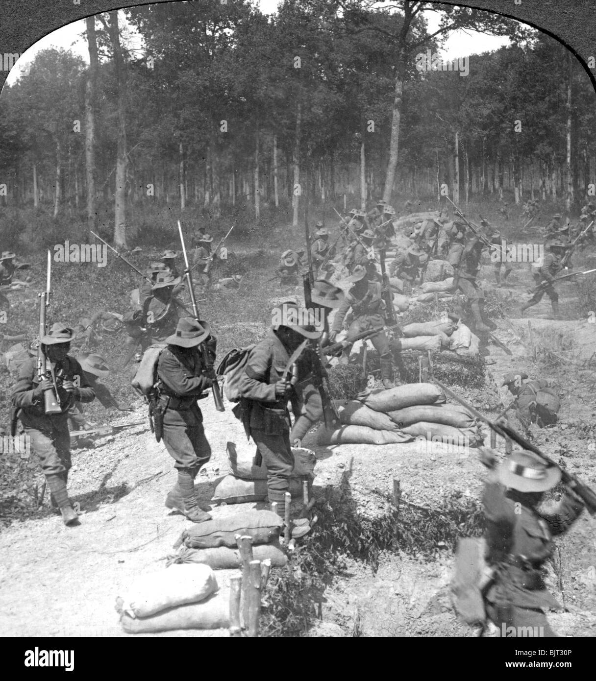 First line Gurkhas storming and capturing a German trench during the Boer War, 1900s. - Stock Image