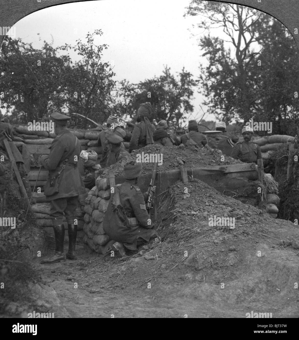 An advanced trench held by Dogras and an Indian Cavalry machine-gun section, 1900s. - Stock Image