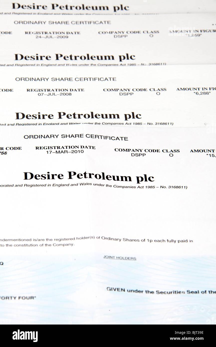 desire petroleum share certificates oil and gas exploration in the falklands stock exchange vertical 05793 desire petroleum
