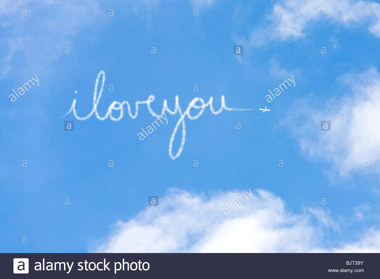 I love you written in vapour - Stock Image