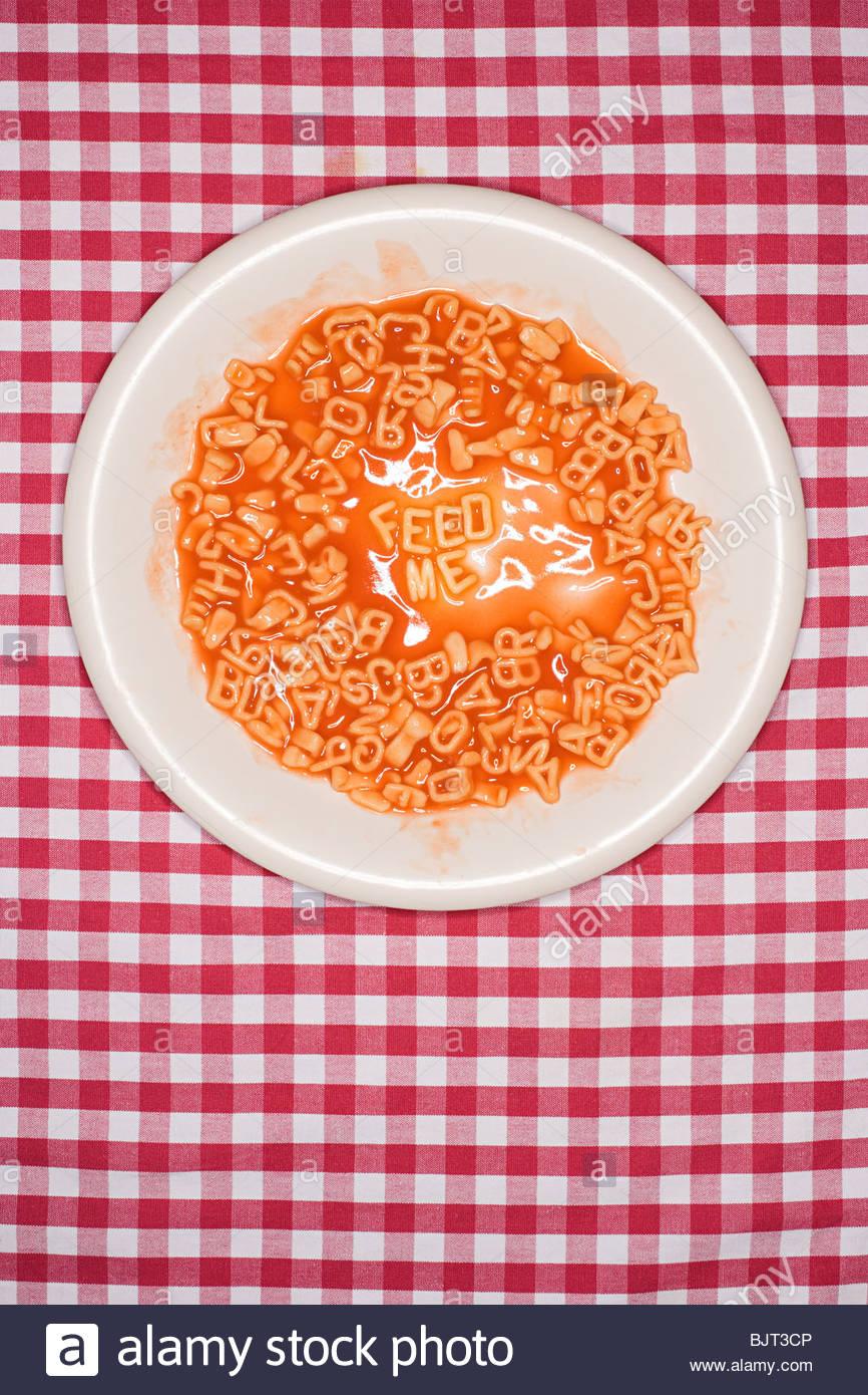 Words written in spaghetti Stock Photo