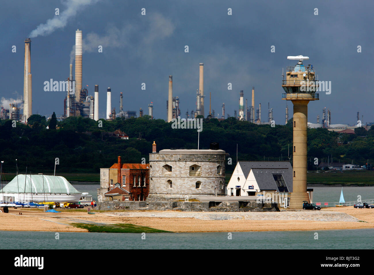 Calshot, Coastguard, Port, Radio, Control, Marine, Traffic, shipping, Control, Fawley oil Refinery, Southampton, - Stock Image