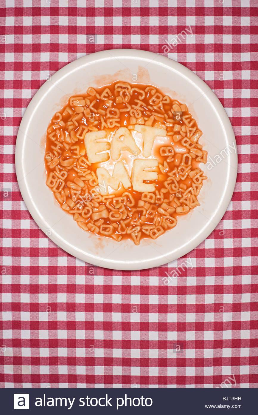 Words written in spaghetti - Stock Image