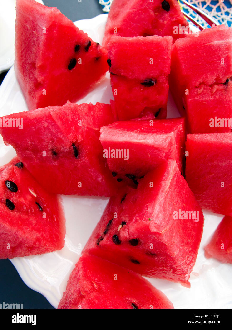 Water Melon fruit on plate - Stock Image