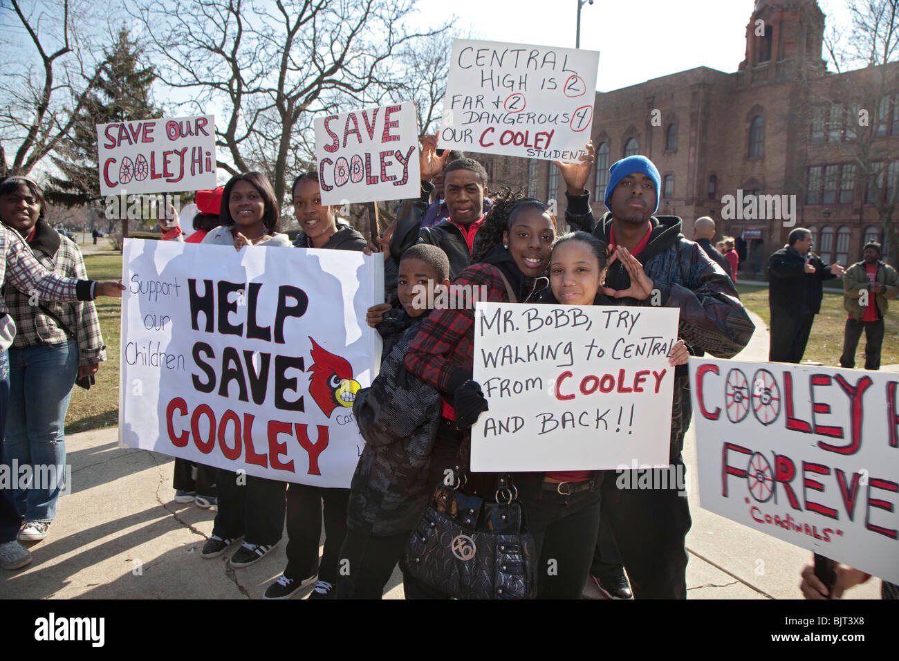 Detroit Students Protest the Planned Closing of their High School - Stock Image