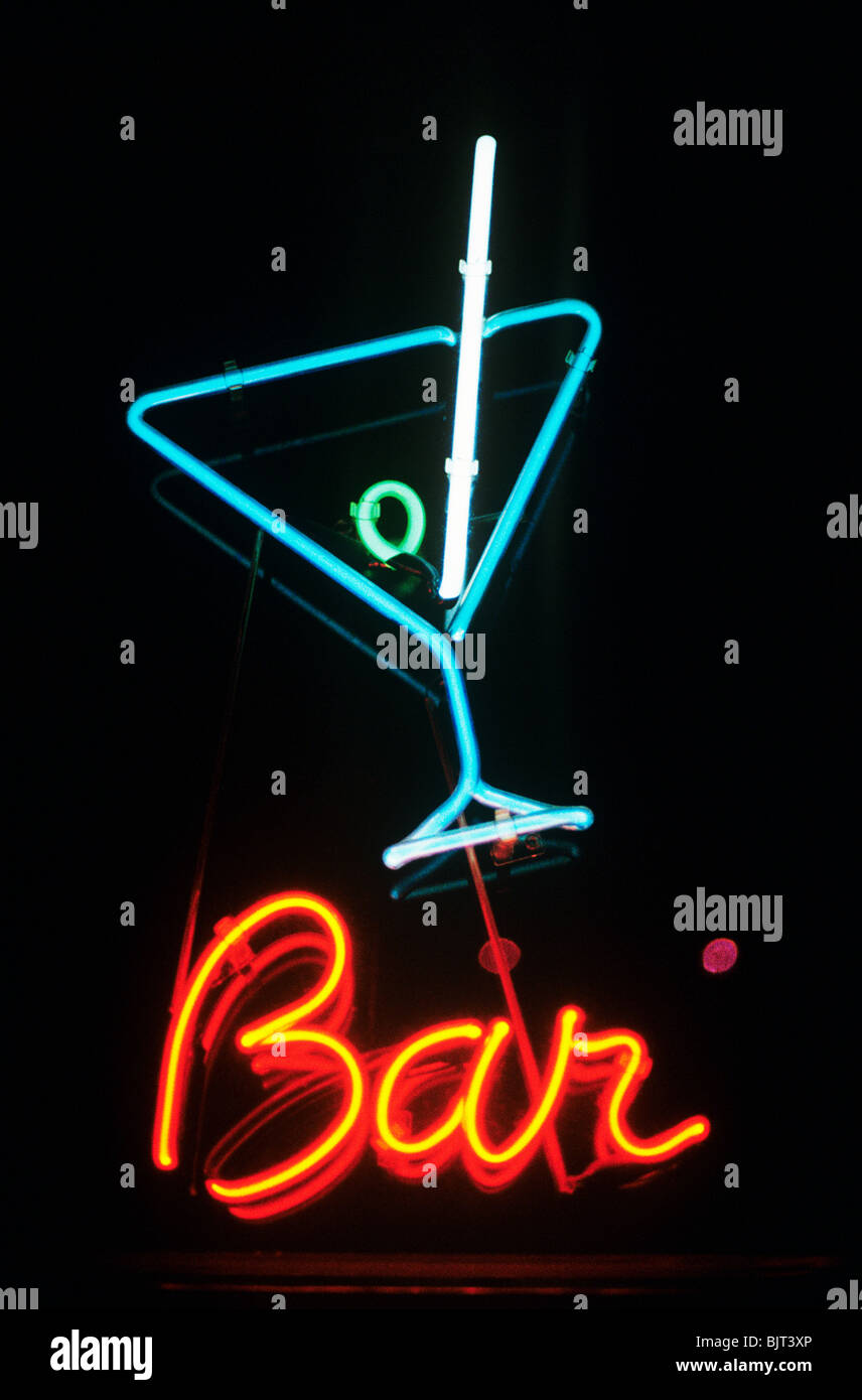 Neon sign for a bar - Stock Image